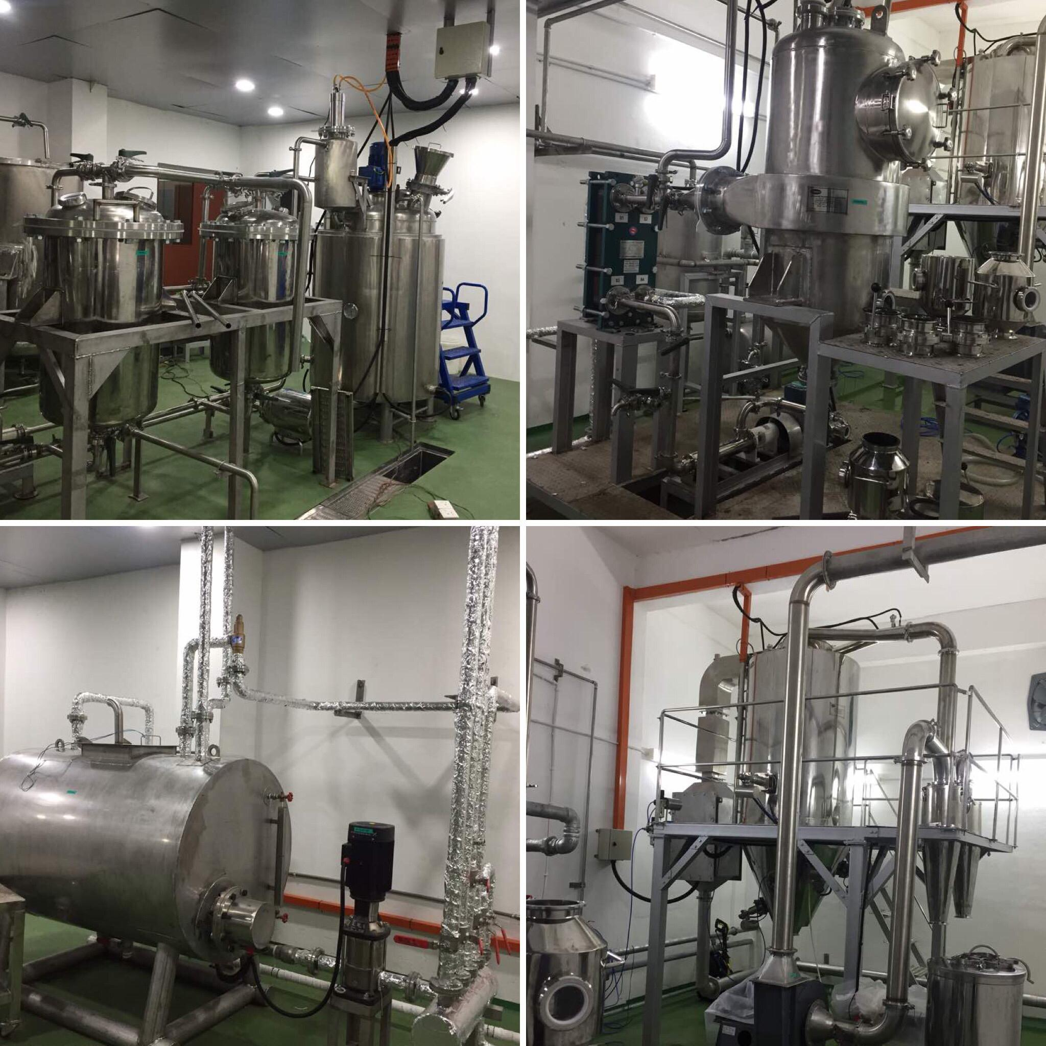 Herbal extraction with ultrasound, percolator, evaporator and spray dryer